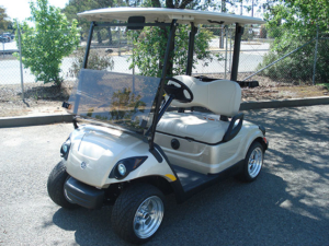 Yamaha golf car in the color sandstone