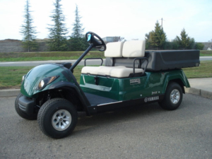 Yamaha utility golf car in the color green with manual dump