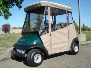 Club Car Precedent golf cars with custom enclosure for sale