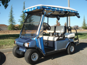 2002 Club Car DS, Light blue color, 4-passenger, available at $2,950