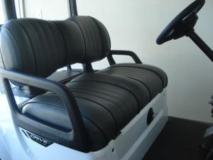 Contoured dark grey vinyl seats