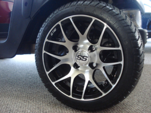 """12"""" Pursuit, machined with black golf cart wheels"""