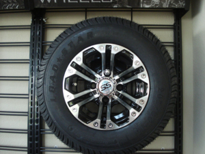 """10"""" Specter, machined with black golf cart wheels"""