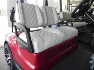 Contoured split-back light grey vinyl seats