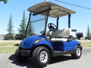 Yamaha Drive golf cart with blue (Tanzanite) body kit.